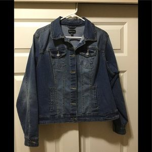 plus size jean jacket with some light distressing